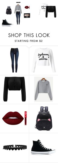 """look"" by lopezdaiana on Polyvore featuring Miss Selfridge, Lime Crime, NYX y Converse"