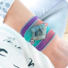 Wild Orchid Zijde Wikkel Wrap Armband Edelsteen Labradoriet Zilver ♡ available at www.ibizamusthaves.nl