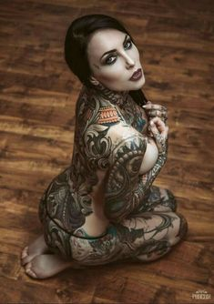 Full Body Tattoo Designs 2018 for Women Tattoo Girls, Girl Tattoos, Tattoos For Women, Tattooed Women, Body Tattoo Design, Full Body Tattoo, Hot Tattoos, Body Art Tattoos, Henna Designs