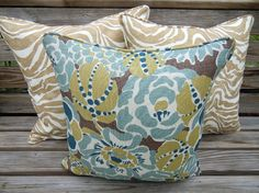 Teal pillow coverfloral pillow cover 18x18 floral by anitascasa