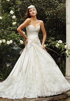 A-Line Sweetheart Dropped Waist Chapel Train Sequin Tulle Wedding Dress