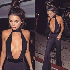 Deep V Cut one piece jumpsuit. Kendall Jenner...