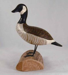 Contemporary Miniature Decoy Wooden Canada Goose Hand Carved Polychrome Painted By Herb Daisey Jr of Chincoteague, Virginia
