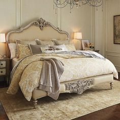 Marchand Upholstered Carved Bed More