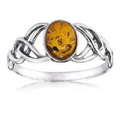 Sterling Silver Amber Celtic Love Knots Ring