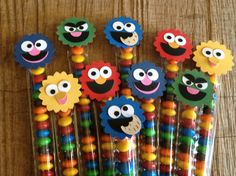 Image of Sesame Street Themed Skinny Treat Bags Monster Treats, Cookie Monster Party, Elmo Party, Party Kit, Party Ideas, Sesame Street Party, Sesame Street Birthday, Christmas Craft Fair, Holiday Crafts