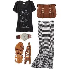 Black graphic tee, black and white striped maxi skirt, camel sandals and bag