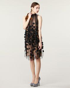 TOMORROWLAND WOMEN'S IMPORT WEAR & SHOES ブラック ドット装飾 チュールワンピース