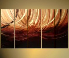 Wieco Art-Waves Of The Future Framed Abstract Oil Paintings on Canvas 100% hand-painted Modern Canvas Wall Art Decor 5 pcs/set III