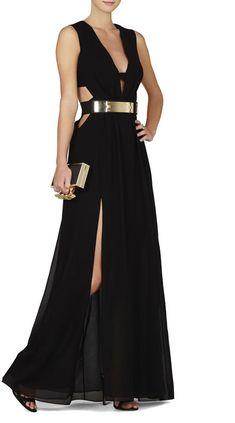 BCBGMAXAZRIA Alda Plunging V-Neck Cutout Gown on shopstyle.com