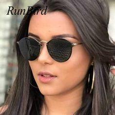 4b9c3f6065 New Fashion Cat Eye Sunglasses Women Brand Designer Vintage Rimless Ladies Sunglass  Female Sun Glasses For Women Sunglass Mirror