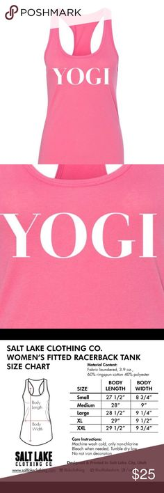 """✨SundaySale✨ Yogi Pink Racerbank Ladies Tank Racerback tank top from Salt Lake Clothing Co. Design: """"Yogi"""" pink Racerback Tank. Size Large. MSRP: $35. Material content: 40% Polyester, 60% Cotton. Made in Indonesia. Designed and Printed in Utah. Reasonable offers are accepted. Bundle to save $$$. Happy Poshing! 🙂 Salt Lake Clothing Tops Tank Tops"""
