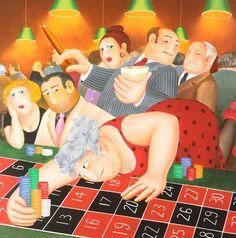 Roulette Silkscreen Print by Beryl Cook
