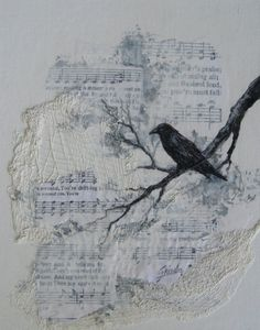 Raven Crow Song original mixed media painting by by gristello