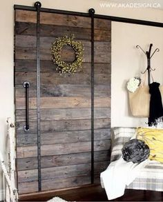 Barn Doors Barn Door Track The Glass Door Store. Barn Doors For Closets That Present Rustic Outlooks In . Sliding Partition Doors Ideas Pictures Remodel And Decor. Finding Best Ideas for your Building Anything Wood Barn Door, Barn Door Track, Wooden Doors, Rustic Barn Doors, Diy Pallet Projects, Home Projects, Pallet Crafts, Pallet Ideas, Crate Ideas