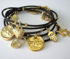 Leather Bracelet  gold charms bracelet gold Hamsa by sohocraft, $29.99    with dark brown leather