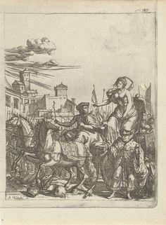 Arnold Houbraken   Tullia overrijdt met haar wagen het lijk van haar vader, Arnold Houbraken, 1681 - 1683   Tullia, in een koets getrokken door twee paarden, overrijdt het lijk van haar vader Servius Tullius. Dit oneerbiedige misdrijf pleegt ze omdat ze betrokken is bij de samenzwering tegen hem om haar echtegnoot op de troon te krijgen. Rechtsboven: fol 585. Prent gebruikt in het boek: Toneel der ongevallen van Lambert van den Bos met in totaal twintig prenten van Arnold Houbraken.