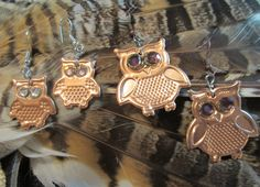 2 Pairs OWLS UpCycled Owl EARRINGS With Crystal EYES One to Wear One To Share One Of A Kind Fun To Wear with Owl Greeting Card Super Cute!! by DinosaurTshirts on Etsy