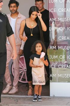 Working: The little girl had been with her reality star mom as she filmed scenes part for Keeping Up With The Kardashians at the Museum Of Ice Cream in Downtown LA