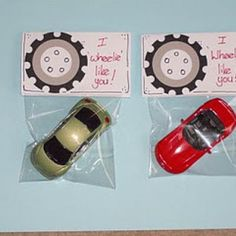 I Wheelie Like You {Valentines For Kids}  This is one Valentine that little boys will love to receive.  Tucked inside each bag is a hot wheel toy car with the sentiment, 'I wheelie Like You'.  This is a perfect party favor for little boys that might be attending your Valentine party.