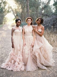 Neutral bridemaids. Gowns by Reem Acra. Photography: Jose Villa Photography - josevillaphoto.com
