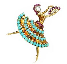 "FD Gallery | A Diamond, Ruby and Turquoise ""Clip Danseuse"" Ballerina Brooch, by Van Cleef & Arpels"