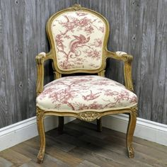 Louis Armchair In Red Tapestry Upholstery