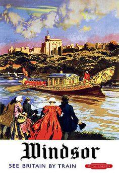 Art Ad Windsor See by Train British Railways Train Rail Travel  Poster Print