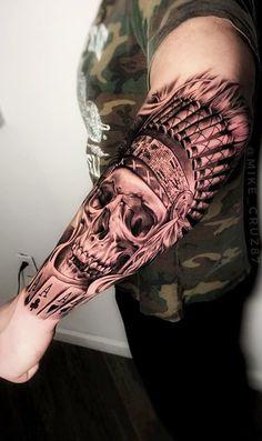80 skull and skull tattoos [Masculinas e Femininas] Aztec Tattoos Sleeve, Half Sleeve Tattoos For Guys, Leg Sleeve Tattoo, Armor Tattoo, Best Sleeve Tattoos, Top Tattoos, Body Art Tattoos, Cow Skull Tattoos, Indian Skull Tattoos