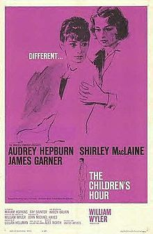 The Children's Hour is a 1961 American drama film directed by William Wyler. The screenplay by John Michael Hayes is based on the 1934 play of the same title by Lillian Hellman. The film starred Audrey Hepburn, Shirley MacLaine, and James Garner. Former college classmates Martha Dobie (Shirley MacLaine) and Karen Wright (Audrey Hepburn) open a private school for girls in New England. Martha's Aunt Lily (Miriam Hopkins), an aging actress, lives with the two of them and teaches elocution.