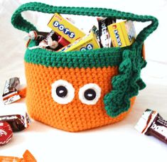 Crochet Pumpkin Bag  Orange and Green Halloween by ArtistBeeBee, $15.00