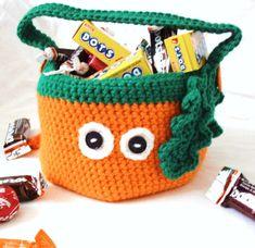Crocheted Halloween Trick or Treat Pumpkin Bag by ArtistBeeBee, $20.00
