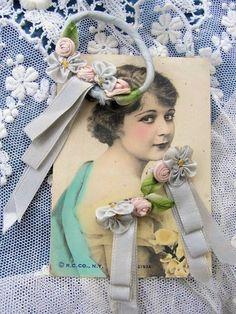 AUTHENTIC ANTIQUE French 3-Pc Set Vintage Handmade Silk RIBBONWORK Rosettes Flowers Roses Lingerie Pins Downton Abbey Era. via Etsy.
