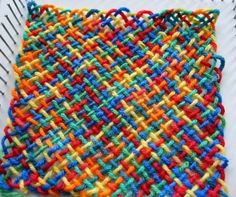 Tutorial for weaving a square on a homemade nail loom--use yarn doubled or tripled and the square will be thick.