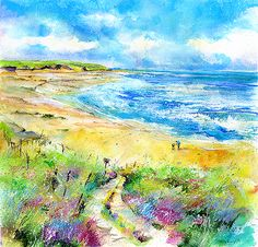 Walking on the Beach watercolour painting   http://www.sheilagill.co.uk/walk-on-the-beach.html