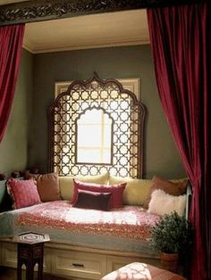 interior design in moroccan style window seat idea