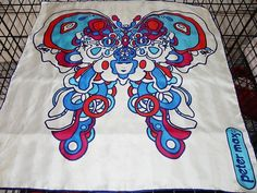 """Vintage Peter Max Red, White and Blue Butterfly Silk 21"""" x 21"""" Scarf"""