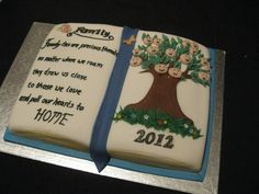 On the family tree is the Grandparents, their 5 children and their children coming off. Family Reunion Cakes, Family Tree Cakes, Family Reunions, Pull Apart Cupcake Cake, Cupcake Cakes, Friends Cake, Cake Craft, Specialty Cakes, Novelty Cakes