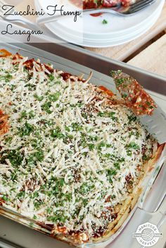 This Zucchini Hemp Lasagna is vegetarian, dairy-free, sugar-free and totally delicious! Try whipping it up for Meatless Monday!