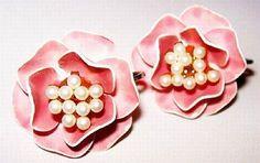 Vintage Earrings Signed Marvella PInk by BrightgemsTreasures, $12.50