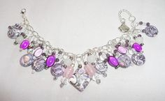 Artisan Chunky Statement Gypsy Charm Bracelet Purple Crystal Turkey Turquoise