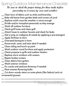 1000 ideas about home maintenance checklist on pinterest for Fall yard clean up checklist