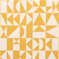 Tissu bio Birch Rio Geo avec des motifs géométriques jaunes