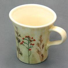 Handmade ceramic mug with underglaze painted pressed field plants. - wide rim shwag.