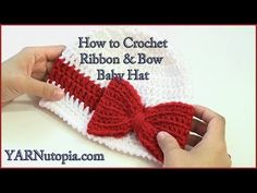 How to Crochet a Ribbon and Bow Baby Hat - YouTube