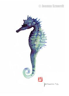 SEAHORSE Sea Horse Blue Fish Water Colors by ColorWatercolor, $25.00  #seahorse #blue #ocean