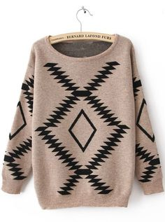 Khaki Long Sleeve Geometric Print Pullovers Sweater