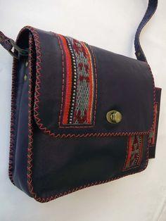 کیف دوشی زنانه : ست دوشی و پولی چرم بزی ترکیبی تیکه دوزی بافت قالی