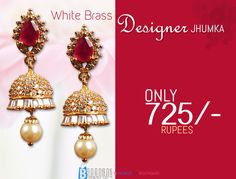 Buy this designer jhumka now at best price...  Product Name:Red and White Brass Designer Jhumkas Product Code:MIJA90J023 Product Price:Rs.725/- Buy at link:http://bit.ly/1ihqSZN