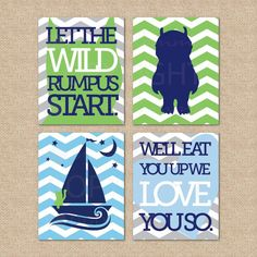 Where the wild things are 4 print set // Nursery / by PaperRamma, $59.00